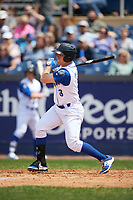 Wilmington Blue Rocks designated hitter Travis Maezes (8) at bat during the first game of a doubleheader against the Frederick Keys on May 14, 2017 at Daniel S. Frawley Stadium in Wilmington, Delaware.  Wilmington defeated Frederick 10-2.  (Mike Janes/Four Seam Images)