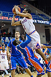 Texas-Arlington Mavericks guard Jamel Outler (3) and Houston Baptist Huskies guard Marcel Smith (2) in action during the game between the Houston Baptist Huskies and the Texas-Arlington Mavericks at the College Park Center arena in Arlington, Texas. UTA defeats Houston Baptist 81 to 47...