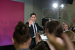 © Joel Goodman - 07973 332324 . 27/01/2015 . Sale , UK . Labour Party Leader , ED MILIBAND , delivers a speech on the NHS at The Life Centre in Sale , Greater Manchester . Today (27th January 2015) marks 100 days until the General Election in the UK . Photo credit : Joel Goodman