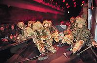 - Royal Marines waiting for landing in the hold of amphibious assault ship Intrepid during a NATO exercise in Sicily....- Royal Marines in attesa di sbarco nella stiva della nave da assalto anfibio Intrepid durante una esercitazione NATO in Sicilia