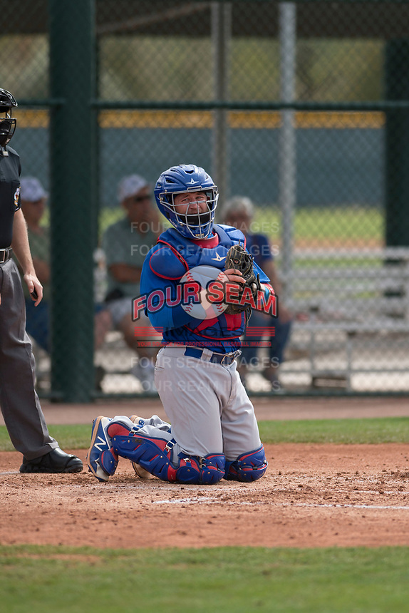 Chicago Cubs catcher PJ Higgins (13) during a Minor League Spring Training game against the Oakland Athletics at Sloan Park on March 13, 2018 in Mesa, Arizona. (Zachary Lucy/Four Seam Images)