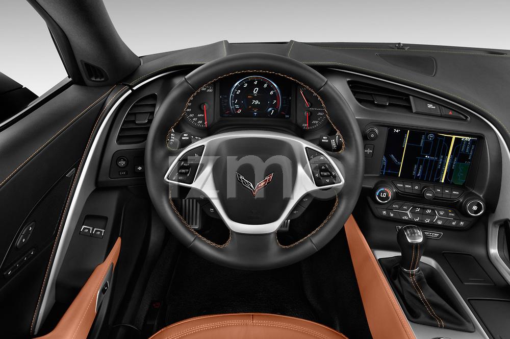 Car pictures of steering wheel view of a 2019 Chevrolet Corvette Stingray Coupe 2LT 3 Door Targa