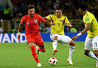 MOSCU - RUSIA, 03-07-2018: Carlos BACCA (Der) jugador de Colombia disputa el balón con Kyle WALKER (Izq) jugador de Inglaterra durante partido de octavos de final por la Copa Mundial de la FIFA Rusia 2018 jugado en el estadio del Spartak en Moscú, Rusia. / Carlos BACCA (R) player of Colombia fights the ball with Kyle WALKER (L) player of England during match of the round of 16 for the FIFA World Cup Russia 2018 played at Spartak stadium in Moscow, Russia. Photo: VizzorImage / Julian Medina / Cont