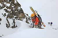 Mark howell lead climbs a route in the Alaska Range mountains, Interior, Alaska.
