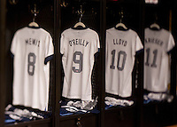 Heather O'Reilly, jersey, locker room. The USWNT tied New Zealand, 1-1, at an international friendly at Crew Stadium in Columbus, OH.