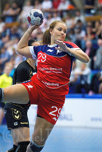 30 MAY 2012 - LONDON, GBR - Jeanett Andersen (GBR) of Great Britain leaps to shoot during the women's 2012 European Handball Championship qualification match against Montenegro at the National Sports Centre in Crystal Palace, Great Britain .(PHOTO (C) 2012 NIGEL FARROW)