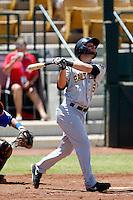 Matt Long #15 of the Salt Lake Bees bats against the Las Vegas 51s at Cashman Field on May 27, 2013 in Las Vegas, Nevada. Las Vegas defeated Salt Lake, 9-7. (Larry Goren/Four Seam Images)