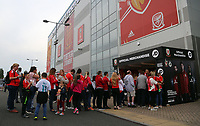 Wales supporters queue at the Official Merchandise counter prior to the FIFA World Cup Qualifier Group D match between Wales and Austria at The Cardiff City Stadium, Cardiff, Wales, UK. Saturday 02 September 2017