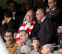 03.04.2018, Football UEFA Champions League 2017/2018,   FC Sevilla - FC Bayern Muenchen, stadium Ramon Sanchez Pizjuan, Sevilla (spain). v.li: Praesident Uli Hoeness (FC Bayern) and Vorstandsvorsitzender Karl-Heinz Rummenigge (FC Bayern Muenchen) auf Tribuene. *** Local Caption *** © pixathlon<br /> <br /> Contact: +49-40-22 63 02 60 , info@pixathlon.de