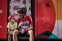 Maxime Monfort (BEL/Lotto-Soudal) & son at the teambus pre-race<br /> <br /> 104th Liège - Bastogne - Liège 2018 (1.UWT)<br /> 1 Day Race: Liège - Ans (258km)