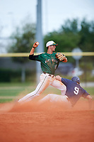 Dartmouth Big Green shortstop Nate Ostmo (19) throws to first base after forcing out Sam Stauble (9) sliding into second base during a game against the Southern Maine Huskies on March 23, 2017 at Lake Myrtle Park in Auburndale, Florida.  Dartmouth defeated Southern Maine 9-1.  (Mike Janes/Four Seam Images)