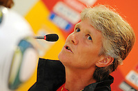 Coach Pia Sundhage of team USA at a press conference during the FIFA Women's World Cup at FIFA Stadium in Dresden, Germany on July 9th, 2011.