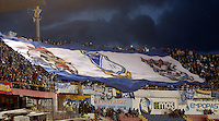 PASTO -COLOMBIA, 12-07-2015: Hinchas de Millonarios extienden una bandera de su equipo durante el encuentro entre Deportivo Pasto y Millonarios por la primera fecha de la Liga Águila II 2015 jugado en el estadio La Libertad de la ciudad de Pasto./ Fans of Millonarios expand a big flag of their team during the match between Deportivo Pasto and Millonarios for the first date of the Aguila League II 2015 played at La Libertad stadium in Pasto city. Photo: VizzorImage / Gabriel Aponte / Staff