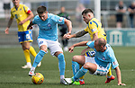 Forfar v St Johnstone….27.07.19      Station Park     Betfred Cup       <br />Matty Kennedy loses out to Gary Irvine and Jordan Kirkpatrick;<br />Picture by Graeme Hart. <br />Copyright Perthshire Picture Agency<br />Tel: 01738 623350  Mobile: 07990 594431