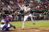 Baltimore Orioles catcher Matt Wieters #32 at bat during the Major League Baseball game against the Texas Rangers on August 21st, 2012 at the Rangers Ballpark in Arlington, Texas. The Orioles defeated the Rangers 5-3. (Andrew Woolley/Four Seam Images).