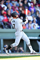 South Carolina Gamecocks right fielder Jacob Olson (7) swings at a pitch during a game against the Clemson Tigers at Fluor Field on March 3, 2018 in Greenville, South Carolina. The Tigers defeated the Gamecocks 5-1. (Tony Farlow/Four Seam Images)