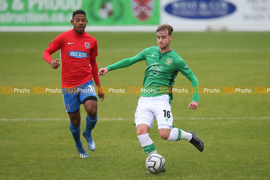 Gabriel Rogers of Yeovil Town and Angelo Balanta of Dagenham and Redbridge during Dagenham & Redbridge vs Yeovil Town, Vanarama National League Football at the Chigwell Construction Stadium on 17th October 2020