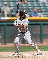 Teoscar Hernandez (15) of the Fresno Grizzlies at bat against the Salt Lake Bees in Pacific Coast League action at Smith's Ballpark on April 16, 2017 in Salt Lake City, Utah. Salt Lake defeated Fresno 5-4. (Stephen Smith/Four Seam Images)