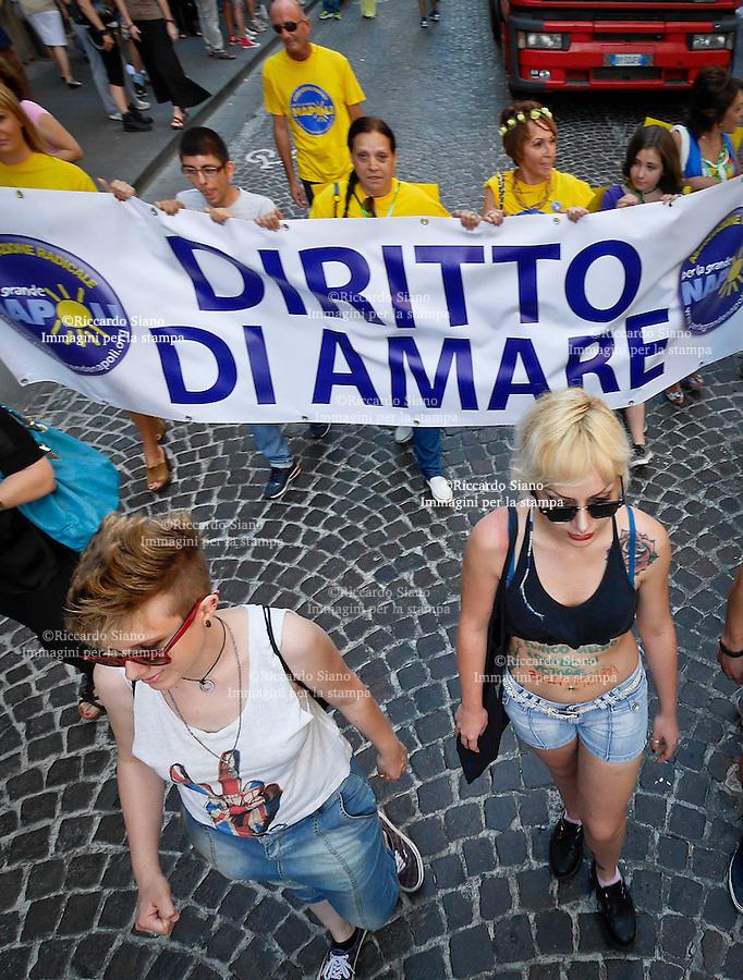 - NAPOLI 2 GIU  2014 -    Il Gay Pride 2014 di Napoli  tra le vie  principali della città e nell'ambito del Mediterranean Pride of Naples.