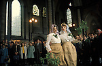 Salisbury Cathedral 1980s Uk May 29th Grovely Forest Rights villagers from Great Wishford Wiltshire traditional dance at dawn inside 1970s