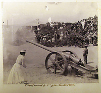 BNPS.co.uk (01202) 558833<br /> Pic: Charles Miller/BNPS<br /> <br /> Fire! One striking photo shows a nurse setting off a large field gun while a large crowd of spectators watched from a hillside.<br /> <br /> A fascinating photo album compiled by a British naval officer on tour in the Far East at the turn of the 20th century has come to light.<br /> <br /> Taprell Dorling served on the HMS Terrible in 1900 at the start of an over 30 year career at sea.<br /> <br /> The album, containing 74 photos, has emerged for sale with auctioneers Charles Miller, of London, with an estimate of £3,000.