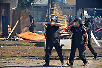 Police shoots rubber bullets  during severe clashes   near the Congress building while Deputies Chamber was   discussing changes in   retirement legislation