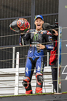 29th August 2021; Silverstone Circuit, Silverstone, Northamptonshire, England; MotoGP British Grand Prix, Race Day; Monster Energy Yamaha MotoGP rider Fabio Quartararo celebrates winning the British Grand Prix