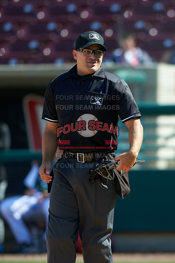 Umpire Randy Wilmes during a California League game between the Lake Elsinore Storm and the Inland Empire 66ers on April 14, 2019 at The Diamond in Lake Elsinore, California. Lake Elsinore defeated Inland Empire 5-3. (Zachary Lucy/Four Seam Images)