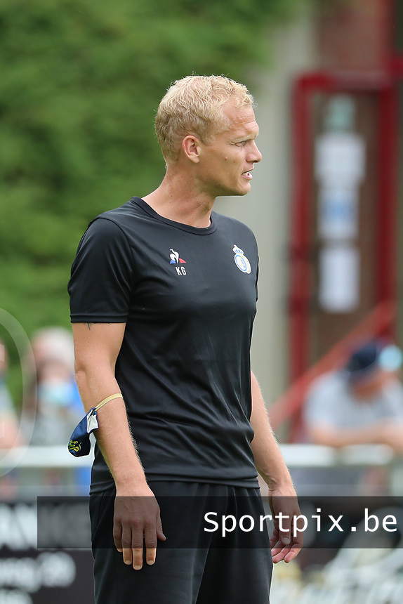 Assistant coach Karel Geraerts of Union pictured during the warm up before a preseason friendly soccer game between Tempo Overijse and Royale Union Saint-Gilloise, Saturday 29th of June 2021 in Overijse, Belgium. Photo: SPORTPIX.BE | SEVIL OKTEM