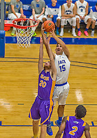 22 November 2015: Yeshiva University Maccabee Forward Michael Hayon, a Freshman from Los Angeles, CA, takes a shot in the second half against the Hunter College Hawks at the Max Stern Athletic Center  in New York, NY. The Maccabees defeated the Hawks 81-71 in non-conference play, for their second win of the season. Mandatory Credit: Ed Wolfstein Photo *** RAW (NEF) Image File Available ***