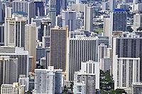 Skyscrapers nearby Waikiki beach, Oahu Island, Hawaii Islands, Usa