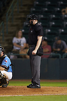 Umpire Mitch Leikam works the plate during the South Atlantic League game between the Charleston RiverDogs and the Hickory Crawdads at L.P. Frans Stadium on August 10, 2019 in Hickory, North Carolina. The RiverDogs defeated the Crawdads 10-9. (Brian Westerholt/Four Seam Images)