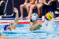 14-02-2021: Waterpolo: France v Russia: Rotterdam<br /> <br /> ROTTERDAM, NETHERLANDS - FEBRUARY 14: Artem Ashaev of Russia, Ugo Crousillat of France during the Olympic Waterpolo Qualification Tournament 2021 match between France and Russia at Zwemcentrum Rotterdam on February 14, 2021 in Rotterdam, Netherlands (Photo by Marcel ter Bals/Orange Pictures)