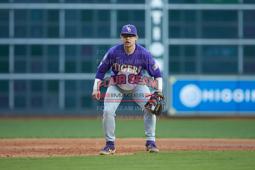 LSU Tigers third baseman Zack Mathis (17) on defense against the Baylor Bears in game five of the 2020 Shriners Hospitals for Children College Classic at Minute Maid Park on February 28, 2020 in Houston, Texas. The Bears defeated the Tigers 6-4. (Brian Westerholt/Four Seam Images)