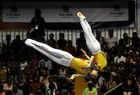 CALI – COLOMBIA – 29-07-2013: Dong Dong y Xiao Tu de China durante competencia de Trampolín Sincronizado Masculino Clasificación en los IX Juegos Mundiales Cali, julio 29 de 2013. (Foto: VizzorImage / Luis Ramirez / Staff). Dong Dong y Xiao Tu from China in Synchronized Trampoline Male Classification in the IX World Games Cali, July 29, 2013. (Photo: VizzorImage / Luis Ramirez / Staff).