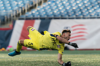 FOXBOROUGH, MA - JULY 25: USL League One (United Soccer League) match. Joe Rice #51 of New England Revolution II save during a game between Union Omaha and New England Revolution II at Gillette Stadium on July 25, 2020 in Foxborough, Massachusetts.