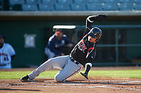 Lake Elsinore Storm Tirso Ornelas (23) slides around catcher Austin Bernard (not pictured) to score a run during a California League game against the Lancaster JetHawks on April 10, 2019 at The Hanger in Lancaster, California. Lake Elsinore defeated Lancaster 10-0 in the first game of a doubleheader. (Zachary Lucy/Four Seam Images)