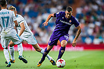 Valentin Eysseric (r) of ACF Fiorentina battles for the ball with Marcos Llorente of Real Madrid during the Santiago Bernabeu Trophy 2017 match between Real Madrid and ACF Fiorentina at the Santiago Bernabeu Stadium on 23 August 2017 in Madrid, Spain. Photo by Diego Gonzalez / Power Sport Images