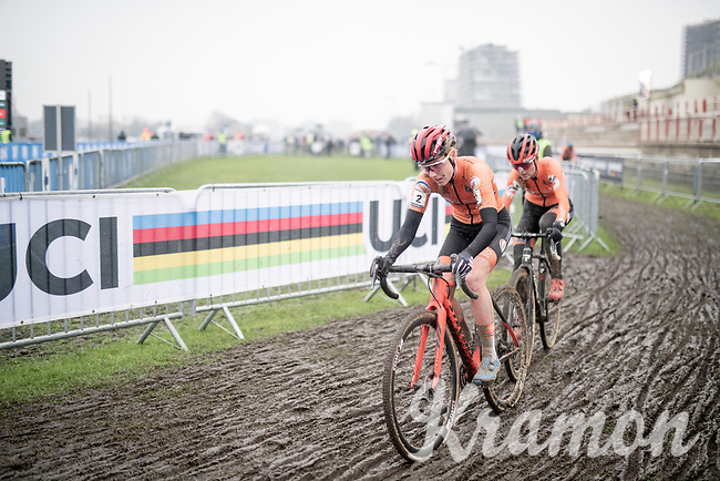 Annemarie Worst (NED/777) & Denise Betsema (NED/Pauwels Sauzen-Bingoal) leading the race after Brand went in the pits for a new bike<br /> <br /> UCI 2021 Cyclocross World Championships - Ostend, Belgium<br /> <br /> Women's Race<br /> <br /> ©kramon