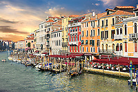 The Grand Canal and gondolas at Rialto Venice, Italy