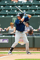 Drew Robinson (33) of the Myrtle Beach Pelicans at bat against the Winston-Salem Dash at BB&T Ballpark on July 7, 2013 in Winston-Salem, North Carolina.  The Pelicans defeated the Dash 4-2 in game one of a double-header.  (Brian Westerholt/Four Seam Images)