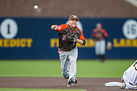 Bowling Green Falcons second baseman Derek Drewes (5) turns a double play against the Michigan Wolverines on April 6, 2016 at Ray Fisher Stadium in Ann Arbor, Michigan. Michigan defeated Bowling Green 5-0. (Andrew Woolley/Four Seam Images)