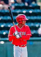 29 July 2018: Batavia Muckdogs outfielder Brayan Hernandez in action against the Vermont Lake Monsters at Centennial Field in Burlington, Vermont. The Lake Monsters defeated the Muckdogs 4-1 in NY Penn League action. Mandatory Credit: Ed Wolfstein Photo *** RAW (NEF) Image File Available ***