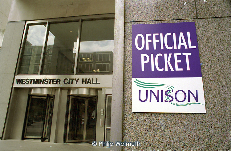 UNISON poster outside Westminster City Hall, London, during a one day strike of local government workers.