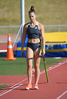 Olivia McTaggert competes in the elite women's pole vault. 2021 Capital Classic athletics at Newtown Park in Wellington, New Zealand on Saturday, 20 February 2021. Photo: Dave Lintott / lintottphoto.co.nz