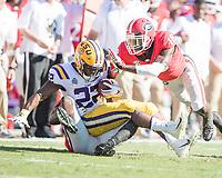 Baton Rouge, Louisiana - October 13, 2018: Tiger Stadium, the number 13 ranked Louisiana State University Tigers play the number 2 ranked University of Georgia Bulldogs.  Final score LSU 36, UGA 16.