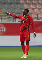 Amadou Onana (6) of Belgium  points during a soccer game between the national teams Under21 Youth teams of Belgium and Kazakhstan on the third matday in group I for the qualification for the Under 21 EURO 2023 , on friday 8 th of october 2021  in Leuven , Belgium . PHOTO SPORTPIX | SEVIL OKTEM