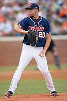 Relief pitcher Matt Crouse #20 of the Ole Miss Rebels in action against the Virginia Cavaliers at the Charlottesville Regional of the 2010 College World Series at Davenport Field on June 5, 2010, in Charlottesville, Virginia.  The Cavaliers defeated the Rebels 13-7.  Photo by Brian Westerholt / Four Seam Images