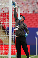 Goalposts are sanitised due to the COVID-19 pandemic during the Sky Bet League 2 PLAY-OFF Final match between Exeter City and Northampton Town at Wembley Stadium, London, England on 29 June 2020. Photo by Andy Rowland.