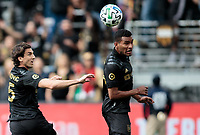 LOS ANGELES, CA - MARCH 01: Eddie Segura #4 of LAFC heads a ball during a game between Inter Miami CF and Los Angeles FC at Banc of California Stadium on March 01, 2020 in Los Angeles, California.